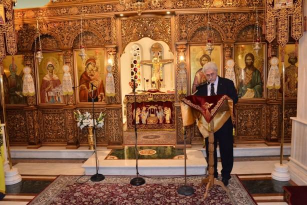 Ο Πρόεδρος της Ένωσης Ομογενών εκ Κωνσταντινουπόλεως Βορείου Ελλάδος Πολύβιος Στράντζαλης, κεντρικός ομιλητής της εκδήλωσης | Φωτογραφία: Δημοσθένης Τσαβδαρίδης